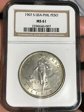US PHILIPPINES ONE PESO 1907-S NGC MS 61