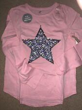 Gap Girls Flip Sequin Star Top Long Sleeve Pink Sz L(10) GT-9