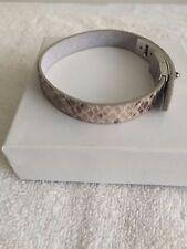 Fossil snake skin leather bracelet Gray adjustable steel turnlock closure NWOT