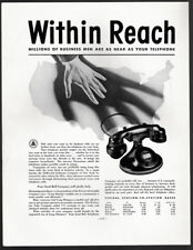 1934 Vintage Print Ad 30's BELL TELEPHONE SYSTEM hand reaching for phone map