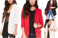 New Ladies Frill Ruffle 3/4 Sleeve Duster Coat Women Jacket Blazer UK 8-26