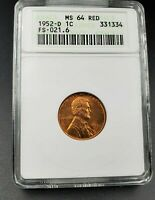 1952 D/S Lincoln Wheat Cent Penny ANACS MS64 RED FS-021.6 Breen-2206 FS-511