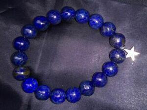 2 Piece Set Lapis Lazuli and Rose Quartz with Blue Sapphire Stretchable Bracelet