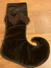 Christmas Brown Velvet Elf Boot Stocking With Brown Seed Beads