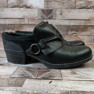 Merrell Size 11 Shiloh Heels Mule Clog Shoe Leather Black Slip On Comfort