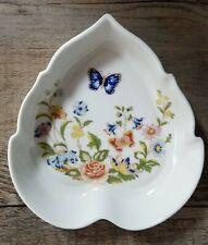Aynsley Cottage Green Trinket Dish Heart Shaped Fine Bone China England