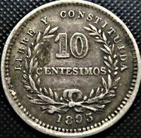 1893 Uruguay **RARE NO MINT MARK** 10 Centesimos KM#14 - Silver Coin