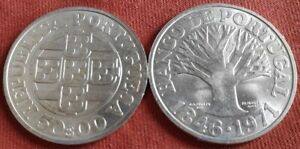 1971 PORTUGAL 50 ESCUDOS SILVER 125 YEARS BANK OF PORTUGAL UNC BU COIN G5