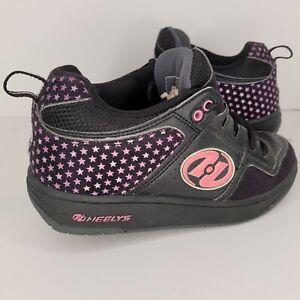 Heelys Skate Shoe Youth Girls Size 5 Black & Pink Style 7377 Stars