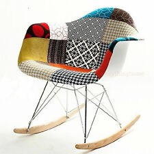 QUILT PATTERN EIFFEL EAMES STYLE ROCKING ROCKER SHELL CHAIR MID CENTURY MODERN