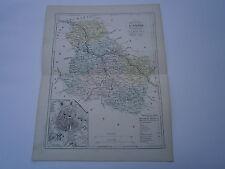 Carte 19° 1852  couleur atlas Malte brun Département de l'yonne plan d'Auxerre