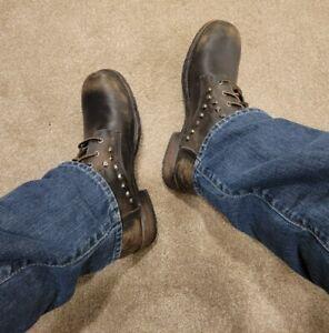 Men's Black Leather Frye Rogan Stonewashed Rivet Biker Lace Up Boots 12 RARE