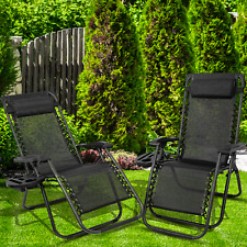 2 Zero Gravity Chairs Sun Lounge Garden Chairs Outdoor Adjustable Cupholder
