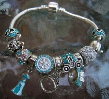 Frozen Blue Mickey Mouse Disney Princess Charm Bracelet 11 beads 2 Pandora 925