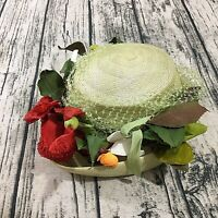 G Howard Hodge 40s 50s New York Fascinator Hat Green Floral Vtg Straw