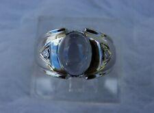 14K Gold nat. Star Sapphire Ring Vtg. semi gypsy mounting