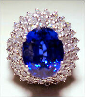 18K WHITE GOLD OVER GLAMURE BLUE TANZANITE SURROUNDED LAB DIAMOND LADYS RING S 8