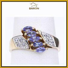 14K TANZANITE RING YELLOW GOLD & DIAMONDS VINTAGE TANZANITE RING SIZE 6.5 (md49