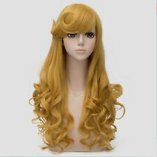 For Cosplay Princess Aurora Long Golden Yellow Curly Hair Women Wig Halloween