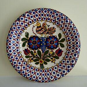 Vtg HMV Pottery Plate Hungarian Decorative Wall Folk Art Blue Red Flowers Bird