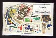 Canada 50 timbres différents oblitérés