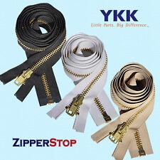 """YKK 36"""" #10 Brass Separating Zipper ~ ZipperStop - Black"""