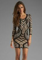 Torn by Ronny Kobo Black Long Sleeve Knit Aztec Casual Dress Size M