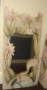 Indonesian Vintage Large Wood Carved, Painted Flamingo Mirror