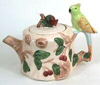 CBK Ltd Ceramic Tea Pot Bird Cockatiel Parrot Flowers Leaves Nature Vintage VGC