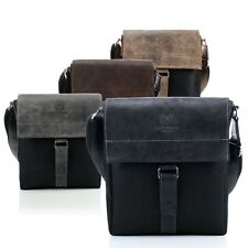 Genuine Leather + Cordura shoulder bag men`s bag messenger Paolo Peruzzi Vintage