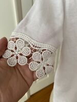 Women's Short Sleeve Round Neck Tee Lace Trim Crochet Tie Front White Small NEW