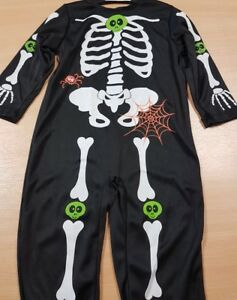 Children's Printed Skeleton Fancy Dress Costume Halloween with Hat Aged 1-2