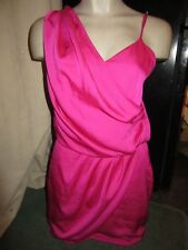 BNWT £35 River Island Dress UK 10 Bright Pink Grecian Wrap Style Party Wedding