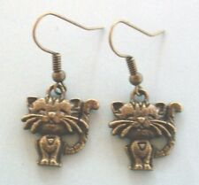 Boucles d'oreilles couleur bronze chat coeur