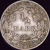 1916-F AU+++ Germany Empire Silver 1/2 Mark - KM# 17
