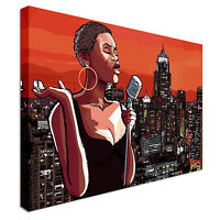 Afro american jazz singer Canvas Art Cheap Wall Print Home Interior