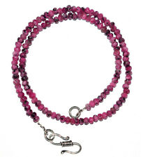 "925 Sterling Silver Pink Jade Gemstone 4 mm Beads 18"" Strand Necklace MJU24141"
