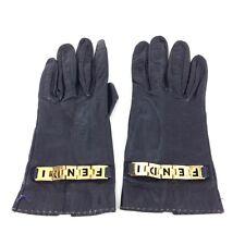 454c7a307768 FENDI black soft leather Gloves
