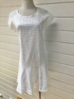 DECJUBA White Short Sleeve Cotton Broderie Anglaise Dress - Size 14