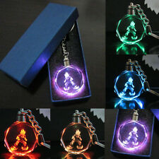 Newly LED light Dragonball Z Son Saiyajin Goku Glass Pendant Charms Key Chain