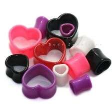 Heart Flesh Tunnel Ear Plug CHOICE OF COLOUR & SIZE Expander Stretcher