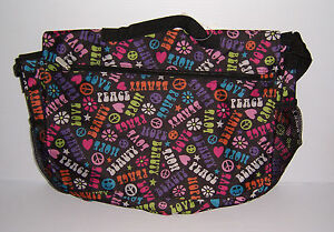 PEACE, HOPE & LOVE PATTERN MESSENGER BAG GIRLS SCHOOL BOOK BAG  NWT!