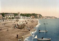 "PS39 Vintage 1890's Photochrom Photo The Beach At Teignmouth Devon Print 17""x12"""