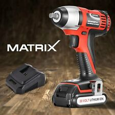 Matrix Cordless Impact Wrench 20V Power Tool with 1.5Ah Lithium Battery Charger