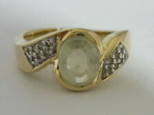 Stunning Unusual Prehnite & White Topaz 9K Gold Ring Size N 1/2 - 4.32 grams