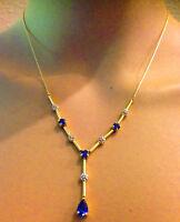 Signed 14k Yellow Gold Blue Pear Teardrop Sapphire Diamond Lavalier Necklace VTG