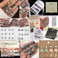 Fashion Crystal Pearl Round Men Women Unisex Ear Stud Earrings Set Jewelry Gifts