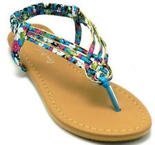Women's  Fashion Gladiator Thong Flat Sandals Floral Print Colors With Gold