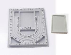 Plastic Bead Design Board + Plastic Tray, Gray. Set of 2