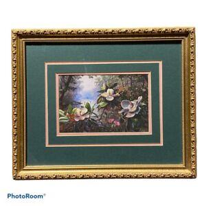 Restful River Magnolias by RC Davis Floral Signed Art Print Framed Matted Flower